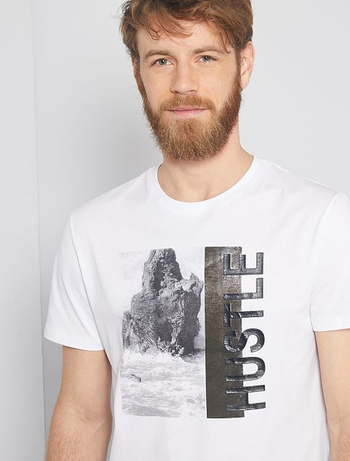 Camiseta con estampado de paisaje                                                                 blanco