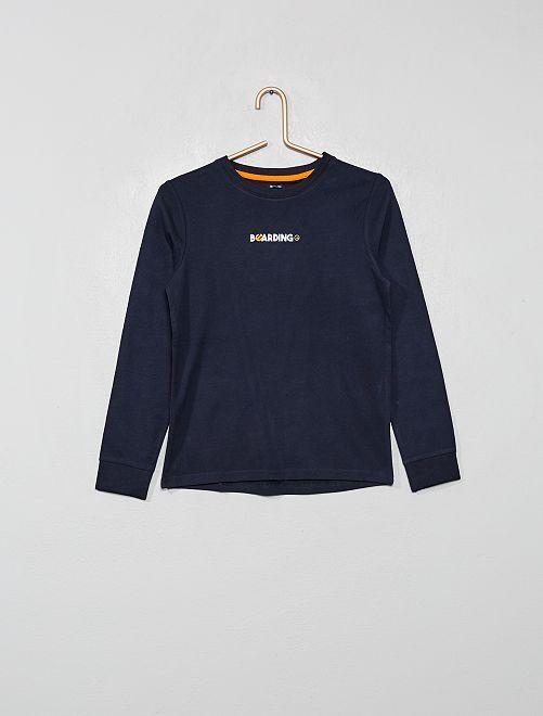 Camiseta con estampado delantero y trasero                                                                 AZUL