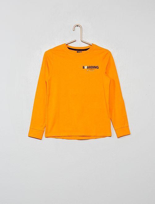 Camiseta con estampado delantero y trasero                                                                 NARANJA