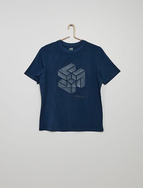 Camiseta con estampado en relieve                                                                 AZUL