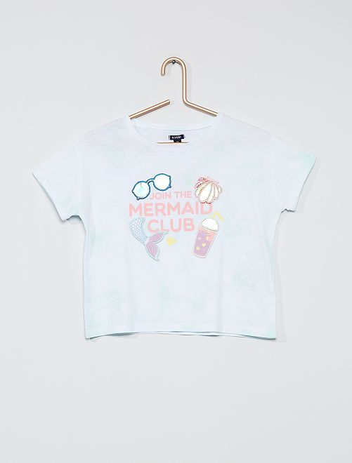 Camiseta con estampado en relieve                                         BLANCO