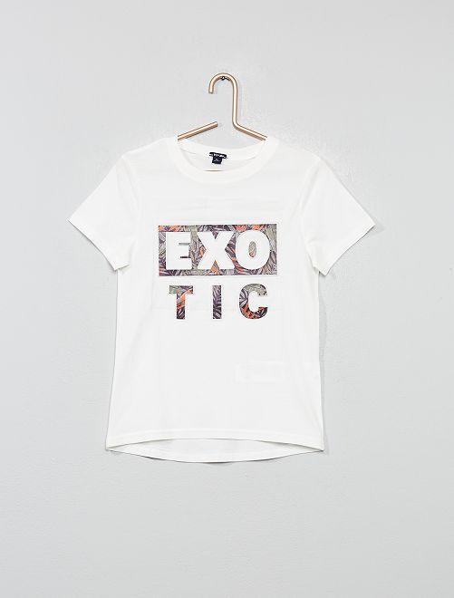 Camiseta con estampado en relieve                                         BLANCO