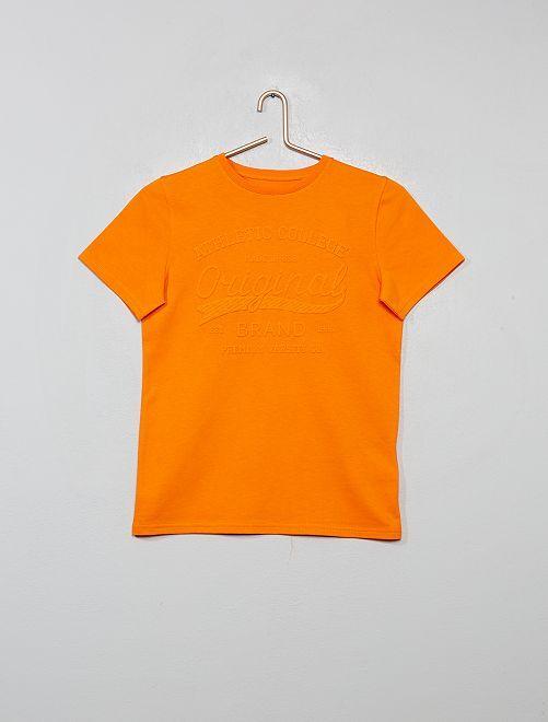 Camiseta con estampado en relieve                                         naranja