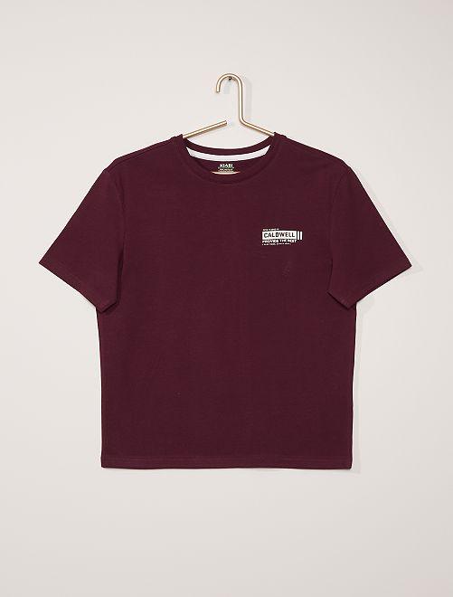 Camiseta con estampado en relieve                                                     PURPURA