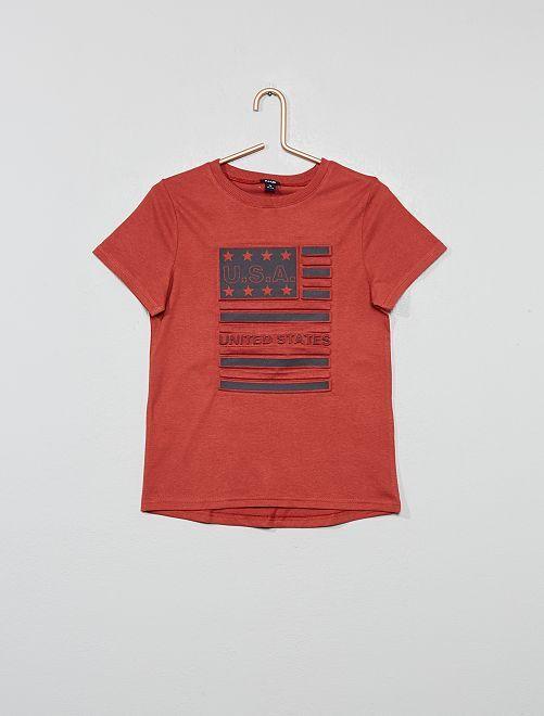 Camiseta con estampado en relieve                                         ROJO
