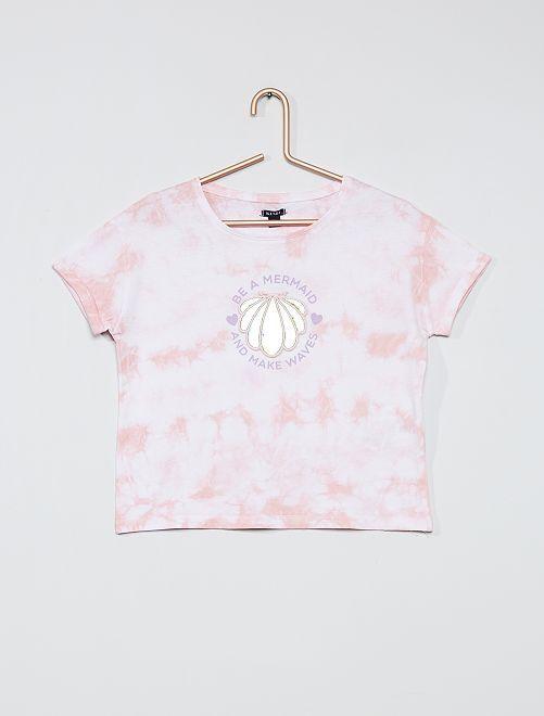 Camiseta con estampado en relieve                                         ROSA