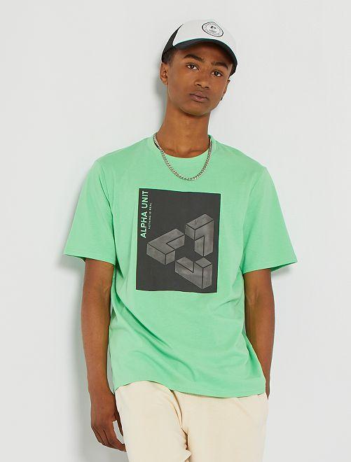 Camiseta con estampado en relieve                                                                 VERDE