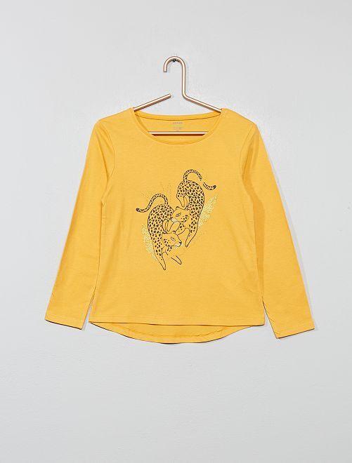 Camiseta con estampado fantasía                                                                                                                             AMARILLO Chica