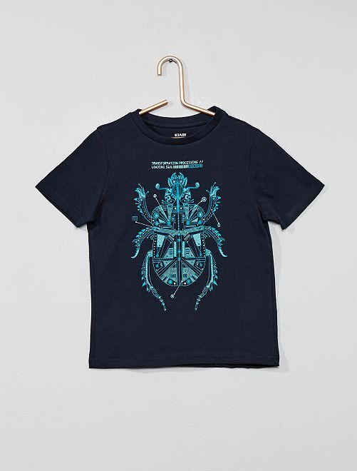 Camiseta con estampado fantasía                                                                     AZUL