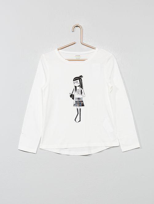 Camiseta con estampado fantasía                                                                                                     BEIGE Chica