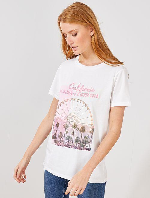 Camiseta con estampado fantasía                                                     BEIGE Mujer talla 34 a 48