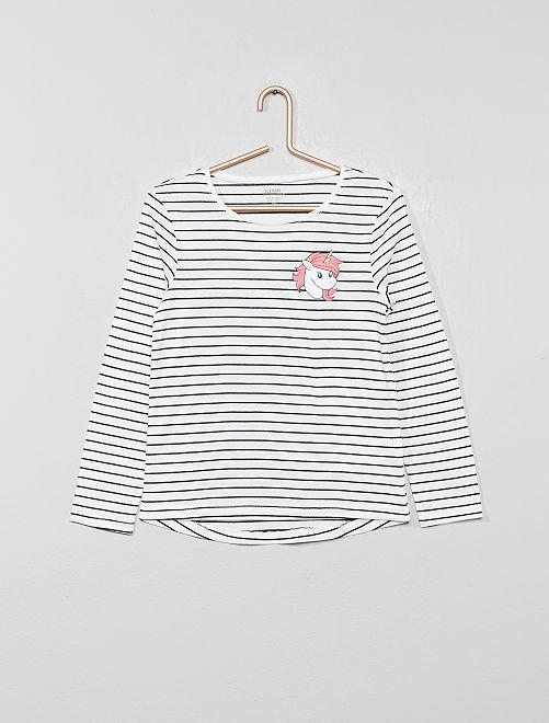 Camiseta con estampado fantasía                                                                                                     BLANCO Chica