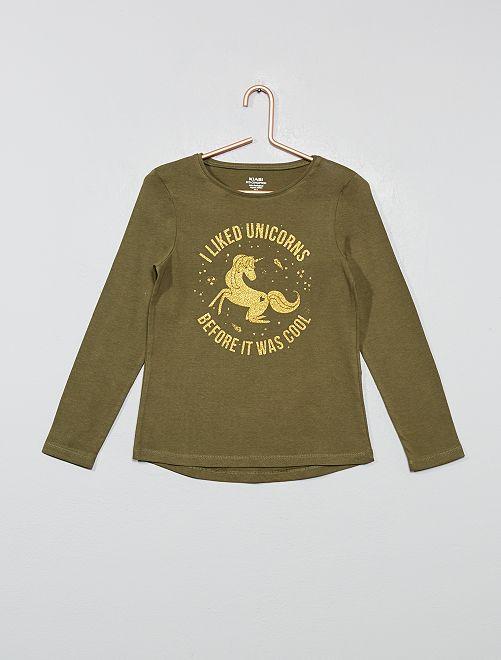 Camiseta con estampado fantasía                             KAKI