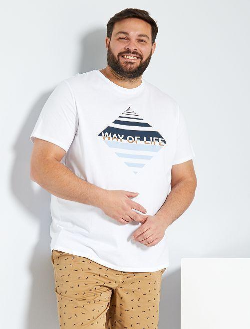 Camiseta con estampado gráfico 'eco-concepción'                     BLANCO