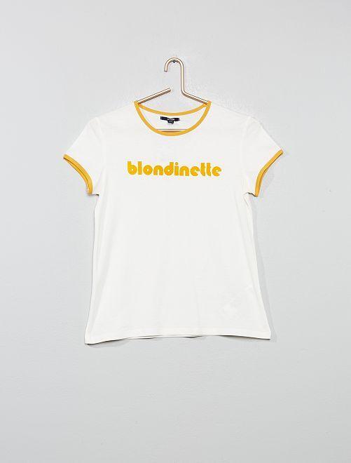 Camiseta con estampado 'morena' de terciopelo                                 BLANCO Joven niña
