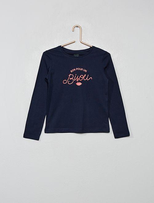 Camiseta con estampado plateado 'Eco-concepción'                                                                                                                                                                                         AZUL