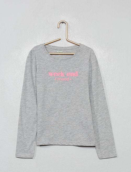 Camiseta con estampado plateado 'Eco-concepción'                                                                                                     GRIS