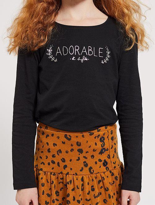Camiseta con estampado plateado 'Eco-concepción'                                                                             NEGRO Chica