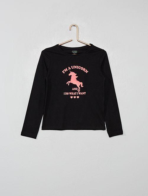 Camiseta con estampado plateado 'Eco-concepción'                                                                                                                                                                                         NEGRO