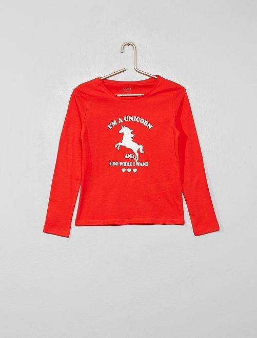 Camiseta con estampado plateado 'Eco-concepción'                                                                                                                                                                                         ROJO