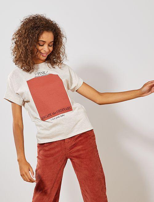 Camiseta con estampado 'refcolor'                             BEIGE