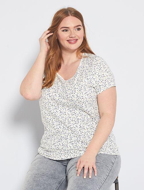 Camiseta con estampado total                                                                                                                                         BLANCO