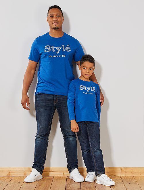 Camiseta 'con estilo de padre a hijo' de algodón orgánico                             AZUL