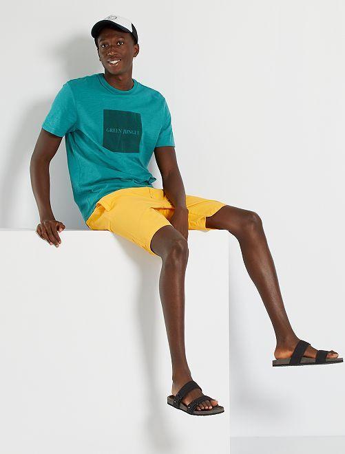 Camiseta con flocado en la misma gama de tonos                                         VERDE