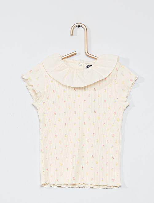 Camiseta con gorguera 'eco-concepción'                     BLANCO