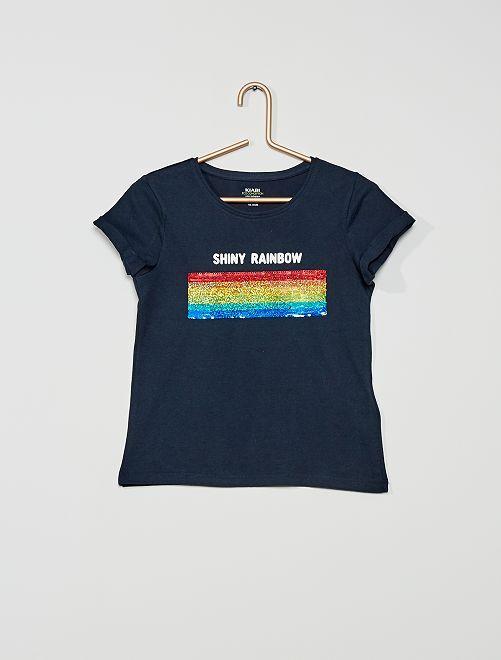 Camiseta con lentejuelas 'eco-concepción'                                         AZUL