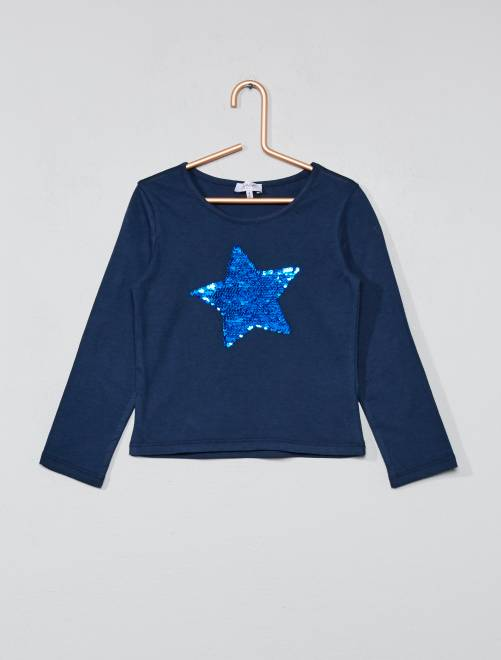Camiseta con lentejuelas reversibles                             azul marino Chica