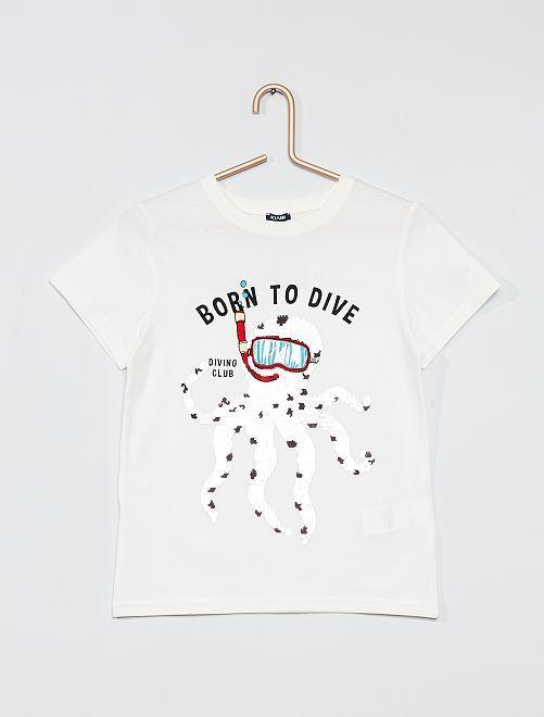 Camiseta con lentejuelas reversibles                                                                 BEIGE