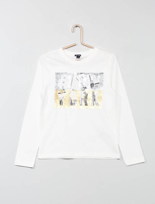 Camiseta con lentejuelas reversibles                             BLANCO Chico