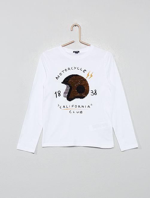 Camiseta con lentejuelas reversibles                                                     BLANCO