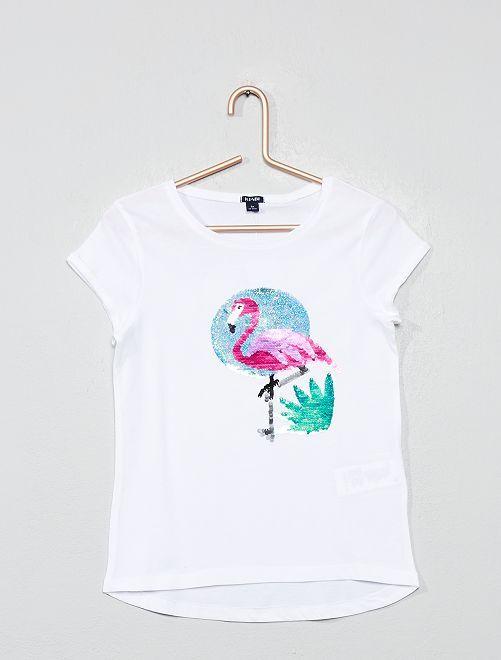 Camiseta con lentejuelas reversibles 'flamenco rosa'                                                                 BLANCO Chica