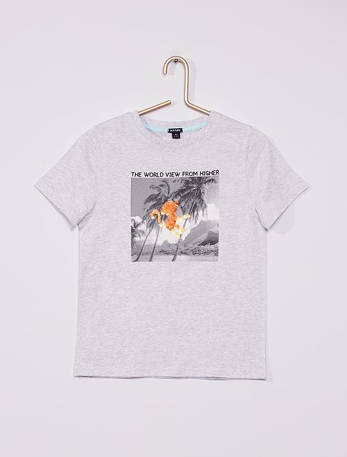 Camiseta con lentejuelas reversibles                                                                             GRIS