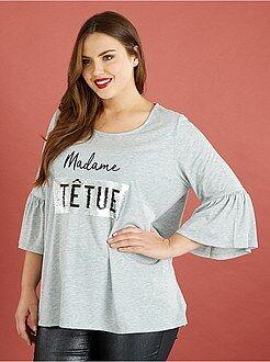 Tallas grandes mujer Camiseta con lentejuelas reversibles