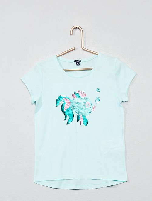 Camiseta con lentejuelas reversibles 'pez'                                                     AZUL