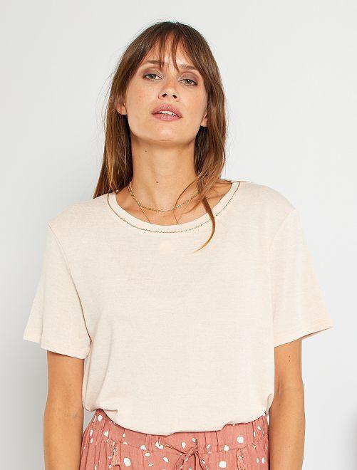 Camiseta con lino                                                                             BEIGE