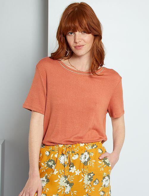 Camiseta con lino                                                                             ROJO