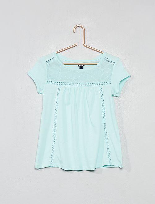 Camiseta con macramé                                                                 azul claro Chica