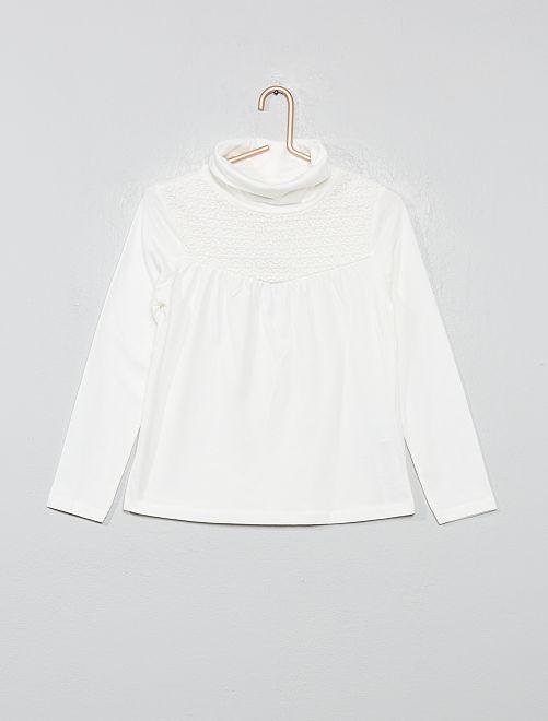 Camiseta con macramé                                                                 blanco nieve