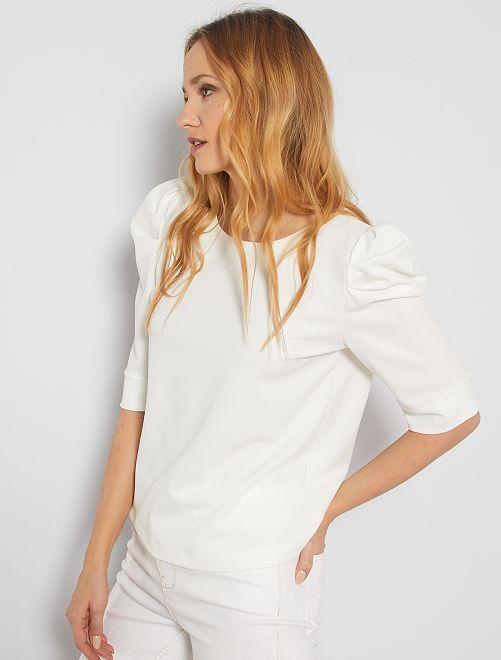 Camiseta con manga abombada                                         blanco nieve