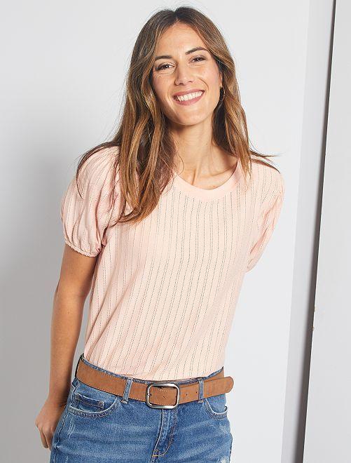 Camiseta con manga abombada                                                                 ROSA