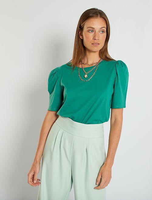 Camiseta con manga abullonada                                                                 verde pino