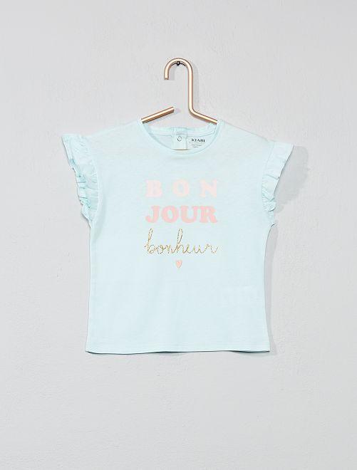 Camiseta con mangas con volantes                             AZUL Bebé niña