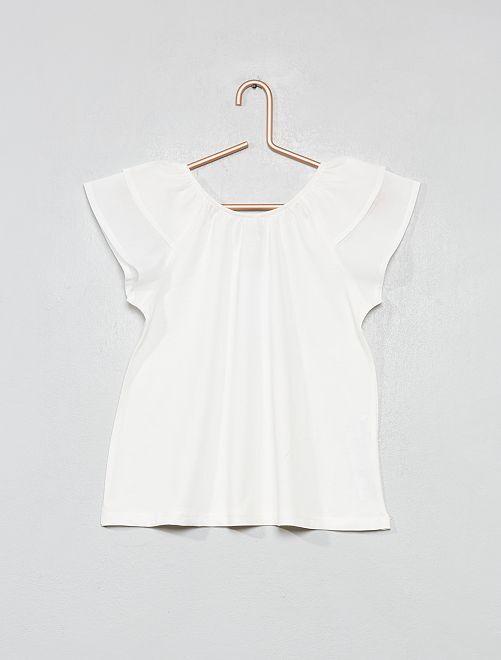 Camiseta con mangas con volantes                             blanco nieve Chica