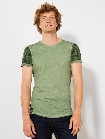 Camiseta con mangas de camuflaje - Kiabi