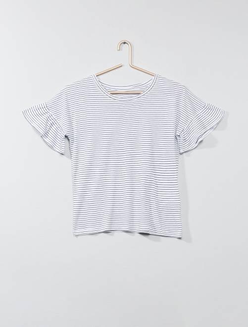 Camiseta con mangas de volantes                                 BLANCO Joven niña