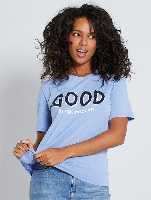 Camiseta con mensaje                     azul